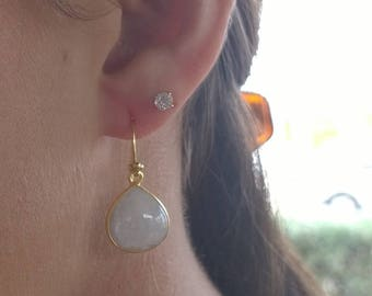 Mad About Moonstone IV: Polished Moonstone Teardrops in Golden Vermeil