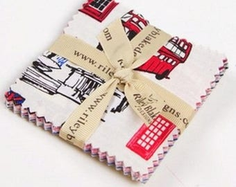 Charm pack fabric by Riley Blake british invasion set