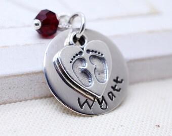 Personalized Baby Feet Necklace - Mommy Mom New Baby Jewelry - Family Necklace - Mother's Day Gift - Birthstone Jewelry - Grandma Nana Gigi