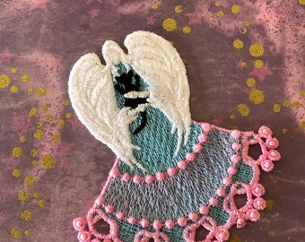 Bless Our Kitties Angel, Embroidery Lace Angel, Angel Bookmark, Machine Embroidered Angel