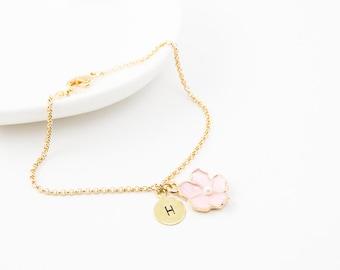 Cherry blossom bracelet, pearl bracelet, bridesmaid bracelet, friendship bracelet, cute bracelet, bridesmaid gift, wedding jewelry, bracelet