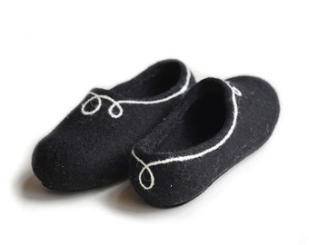 Summer Sale Handmade wool felted slippers with rubber soles- house shoes