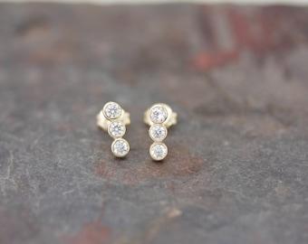 Three stone bar earrings