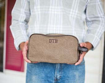 Mens Monogrammed Dopp Kit | Groomsmen Gift | Monogram Travel Case | Overnight Case | Gifts for Travelers | Personalized Gift for Men | Duke