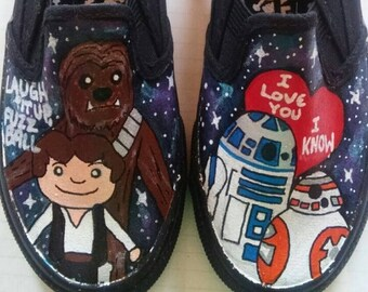 Cute Star Wars Yoda Chewbacca Han Solo R2D2 BB8 hand painted shoes