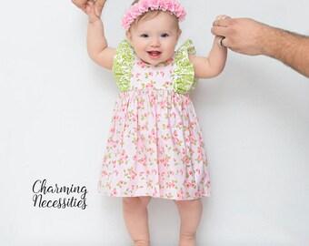 Baby Girl Spring Dress, Toddler Spring Dress, Spring Spring Dress, Toddler Girl Clothes, Baby Girl Outfit, Bloomers Bow set, pink floral
