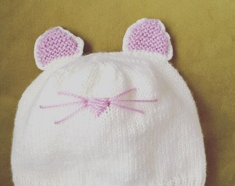 Baby cat hat //  knitting hat // outwear