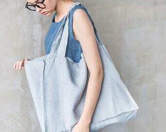 Large linen tote bag / linen beach bag / linen shopping bag in ice blue/silver grey