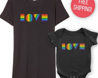 LGBTQ LOVE Shirt and Onesie Bundle | Mommy and Me Bundle | Lesbian Mother's Gift | Mother Baby Gift | LGBT Pride Shirt | Gay Pride Shirt