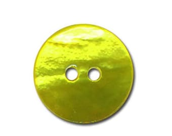 5 buttons in mother-of-Pearl natural round 18mm - lime green color - 2 holes