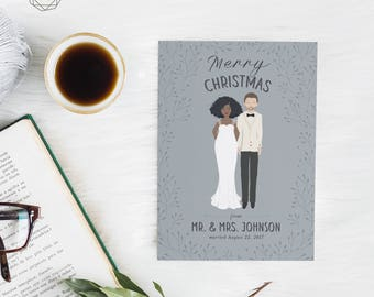 Wedding Christmas Card, Illustrated Christmas Card, Couple Christmas Card, Custom Christmas Card, Newlywed Christmas Card, Christmas Card