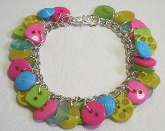Summer - Lime Green, Hot Pink, Yellow and Aqua button charm bracelet Button Jewellery Button Jewelry UK Handmade