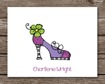 PRINTABLE Shoe Note Cards, Shoe Cards, Personalized Note Cards,