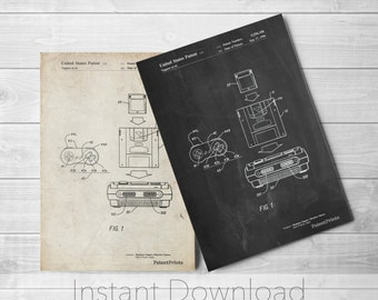 Nintendo Printables, Console Remote and Cartridge Patent Poster, SNES, Game Room Decor, Gamer Gift, Technology Art, Nintendo Gifts, PP1072
