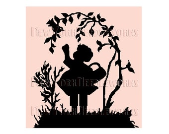 Child Silhouette Cross Stitch, Child Cross Stitch, Girl With Bird Silhouette, Needlepoint, Cross Stitch, Silhouette from NewYorkNeedleworks