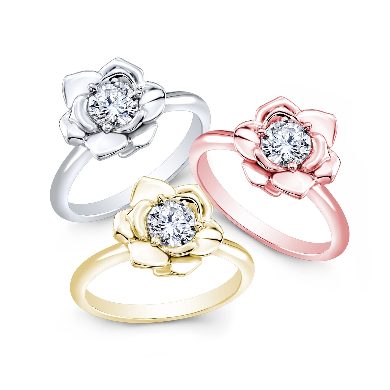 Rose Gold Rose Rose Ring Diamond Ring Rose Diamond Ring