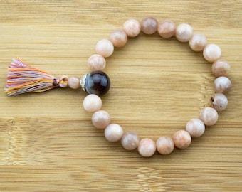 Peach Moonstone Mala Bracelet with Botswana Agate | 8mm | Yoga Jewelry | Meditation Beads Bracelet | Free Shipping