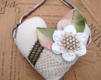Shabby Primitive Heart Ornament