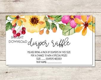 Diaper Raffle Ticket, Baby Shower Diaper Raffle, Fiesta Baby Shower, Baby Brunch, Baby Shower Game, Watercolor Flowers, Printable No. 1036