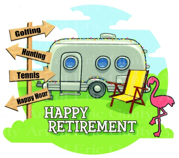Happy Retirement Camper Birthday - Edible Cake and Cupcake Topper For Birthday's and Parties! - D24121