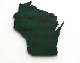 "Wisconsin map metal wall art - 17"" tall WI wall decor - choose your color - USA art state map art - Wisconsin art madison milwaukee packers"