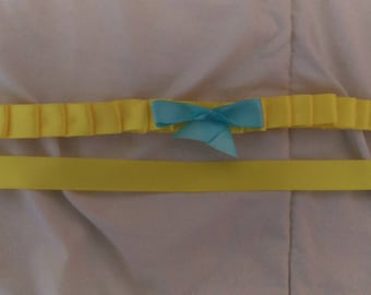Yellow choker with baby blue bow