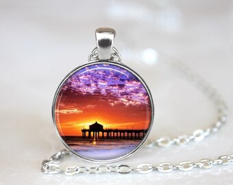 Sunset 2 Glass Pendant, Photo Glass Necklace, Glass Keychain, Glass Jewelry