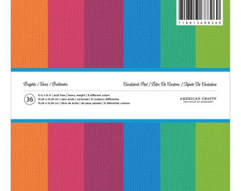 "American Crafts Solid Cardstock Pad  Brights 6""X6"" 36/Pkg -    368826"