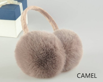Real Fur Earmuffs, Fluffy Fur Ear Warmer, Black Earmuffs, White Ear Muffs, Warm Ear Muffs, Earmuffs for Women, Rabbit Fur Earmuffs,