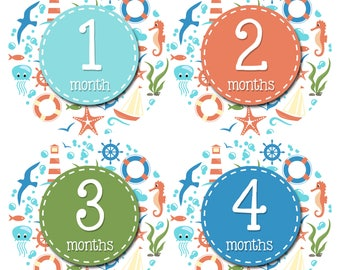 Baby Boy or Girl Month Stickers Monthly Baby Sticker Monthly Baby Stickers Baby Month Stickers Milestone Stickers Photo Stickers Ocean 1202
