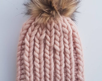 Chunky ribbed knit beanie, large pom-pom, faux fur pom-pom, ribbed hat, winter beanie, cozy beanie, knit hat, wool hat, chunky toque