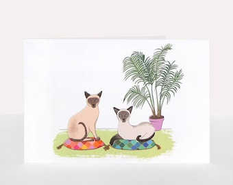 Siamese Cats - Greetings Card