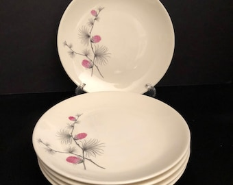 Canonsburg Wild Clover Bread Plate Set 5 by CANONSBURG Steubenville SKYLINE/WILD Clover Steubenville - Wild Clover Pattern /Pink Pinecone
