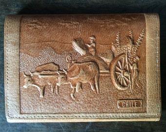 Vintage Chilian cow wagon harvest leather tan wallet billfold purse circa 1970-80's / English Shop