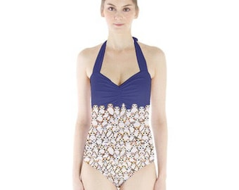 Star Wars Swimsuit, Porgs on Navy Sweetheart Halter Swimsuit, Porg One Piece Bathing Suit, The Last Jedi Swimsuit, Galactic Penguin