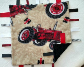 Tractor Infant Security Blanket with Ribbons