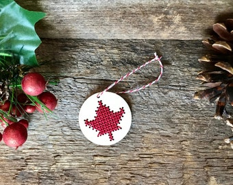 Cross stitch Canadian maple leaf laser cut wood Christmas tree ornament by Canadian Stitchery