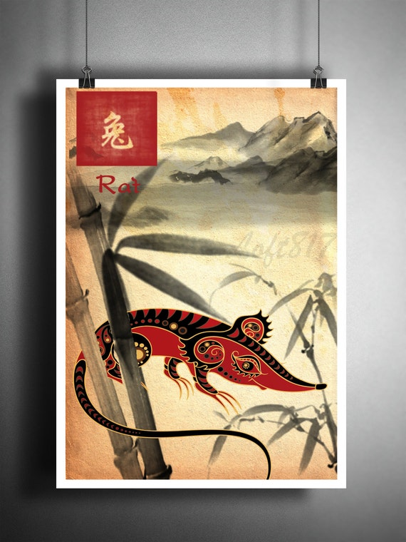 Chinese Zodiac Rat asian wall art astrology art print