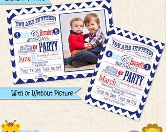 Brüder kombiniert Partei lädt • Dual Party-Einladungen • jungen Shared Partei • kombiniert Party Ideen • rot und blau Chevron-Einladung