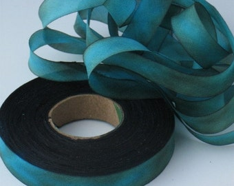 Silk Ribbon Hand Dyed  bias-cut, hand dyed silk ribbon
