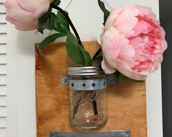 Mason Jar Wall Vase - Customizable