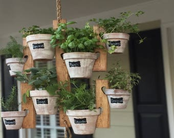 Hanging herb garden etsy hanging garden wooden planter indoor or outdoor herb succulent flower plant 8 pots workwithnaturefo