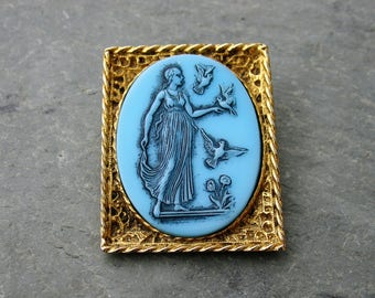 Glass Cameo Brooch Helen of Troy Vintage Edgar Berebi Gold Aqua Turquoise Blue Birds and Flowers