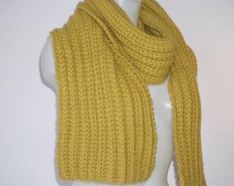 Knit scarf, long knit scarf, knit shawl, womens fashion accessory, chunky Knit scarf in mustard yellow , cozy softness