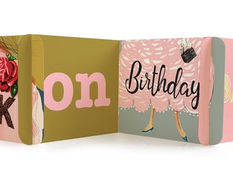 Rock On Birthday -  CARDzees, upcyle this unique, collectible birthday card, zig zag, modular greeting card
