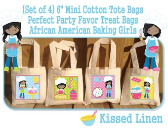 African American Girls Baking Party Favor Bags Cooking Chef's Birthday Treat Favor Gift Bags Mini Cotton Totes Children Kid Guest