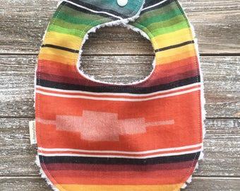 Boho Serape Southwest Style Bib - Baby Bib - Chenille Teething Bib - Baby Gift - Tribal Baby - Boho Style - Fiesta Southwest Desert Style