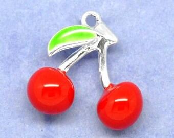 Two cherry enamel Silver Pendant