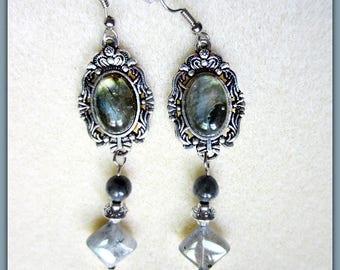 Labradorite Earrings, Dangle Earrings, Blue Green Earrings, Labradorite Gemstones, Ready to Ship
