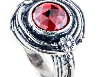 Silver ring, Red Garnet Ring, Womens silver ring, Gemstone ring, Unique silver ring, handmade